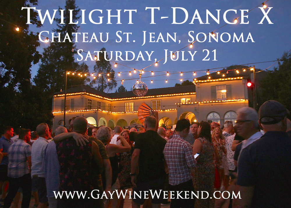 Twilight T-Dance X @ Chateau st. jean winery!     Celebrating 10 years!    5PM - 10pm - VIP $165/General $80   A benefit for Face to Face, Sonoma County AIDS Network  Nestled in the heart of the stunning Sonoma Valley, the Chateau St. Jean estate offers wine lovers an idyllic getaway to soak in the Sonoma wine lifestyle. With incredible vineyard views, a dramatic mountain backdrop, lush gardens and the elegant 1920s chateau, join us for a private, one of a kind experience at the beautiful Chateau St. Jean and sip their award winning wine with 500 of your closest friends, while enjoying the breathtaking ambiance of the estate and dance into the magnificant sunset of Sonoma.   VIP Reception 5:00pm - 6:30pm   Come early for the VIP Reception in the beautiful, lush rose garden on the grounds of Sonoma's iconic  Chateau St. Jean Winery ! Sip on their award winning wines and enjoy delicious, mouth watering, culinairy delights created by  Classic Culinaire  and the hands of the hansome,  Chef Chad Carlstedt.