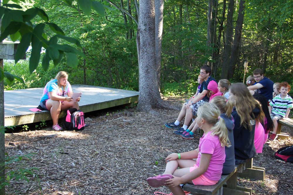 The Outdoor Chapel is a fairly new addition to our facilities. Follow the lakeside trail down towards the lake from behind our Retreat Center and you'll arrive here. It right on the edge of the lake, has seating for 65 people or so, and a stage next to the lake.