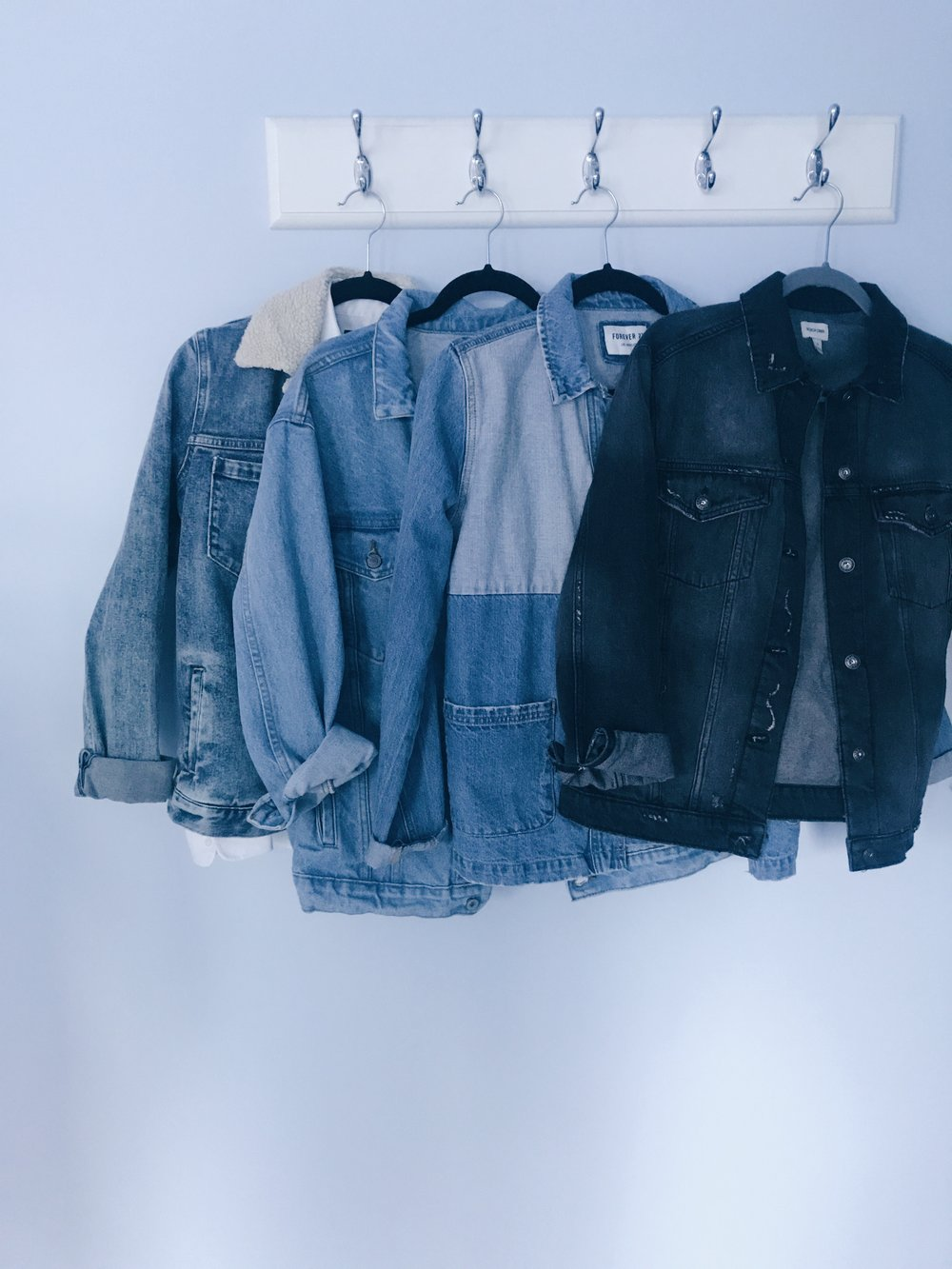 Jacket options. Even though I only show denim here, you could pick pretty much any material. Grab a pair of black jeans, slacks, corduroys, or tasteful leggings and you're good to go!