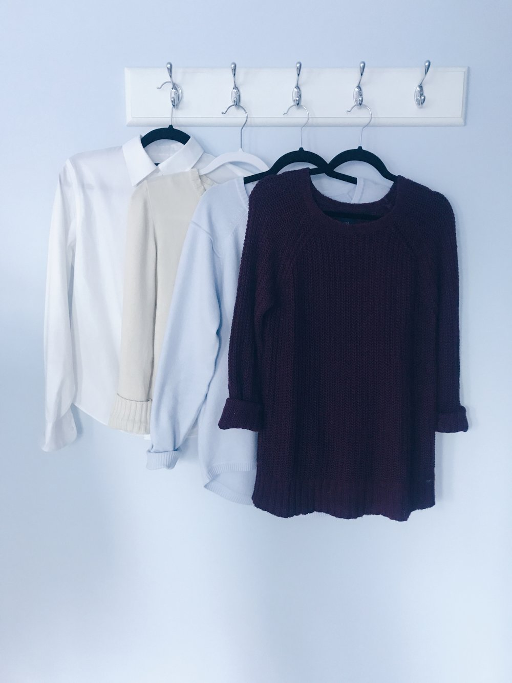 Sweaters! Throw your favorite sweater on when it gets chilly out. The collar peaking out and cuffed sleeves will give you a smarter cozy look.