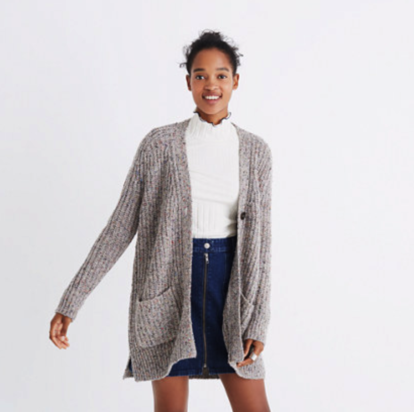 Madewell Colorfleck Ribbed Cardigan Sweater $135, Madewell.com
