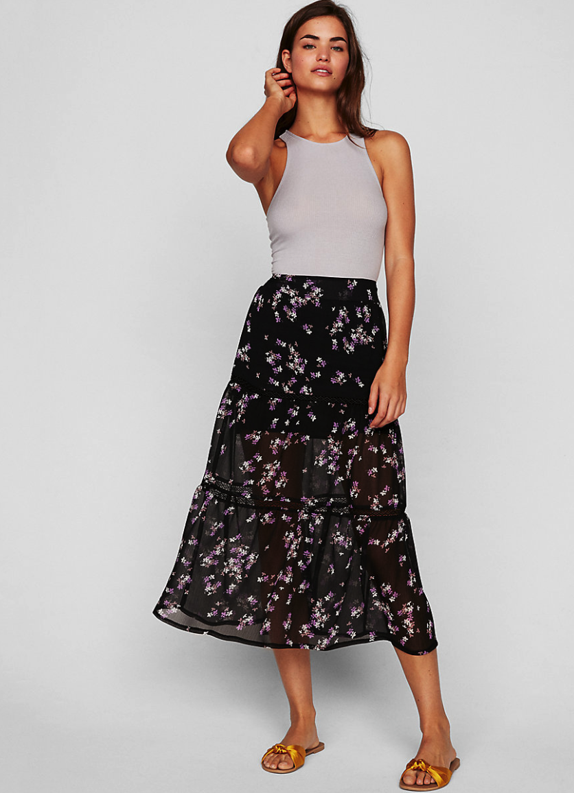 Express Floral Print Tiered Midi Skirt: $69.90.   Here