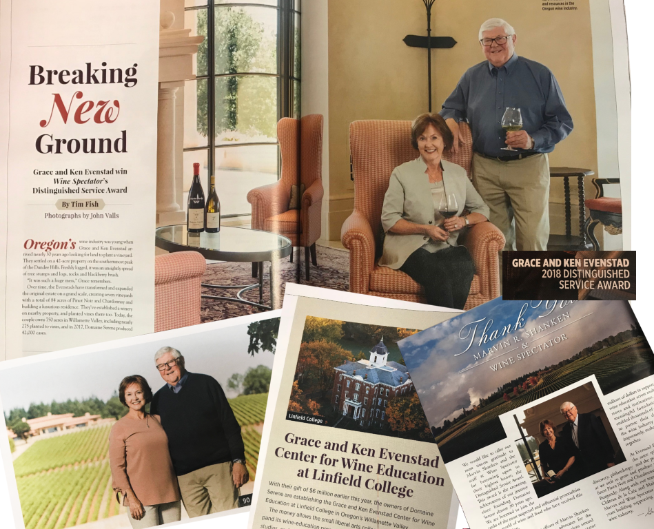 Domaine Serene Founders to Receive Wine Spectator's Highest Honor, the 2018 Distinguished Service Award