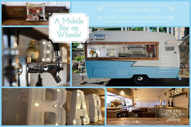 "Looking for a beautiful bar to ""wow"" your guests?  Book the Tin Can Caravan Bar for your next event!  #mobilebar #morristownnj #corporateevents #weddings #birthday"