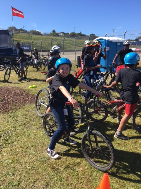 Amy Carver's daughter, Piper< getting ready to ride with other youth at Sea Otter Classic.