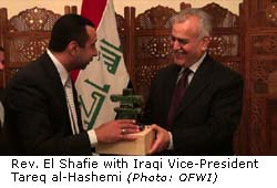 Majed El Shafie with Iraqi Vice President Tareq al-Hashemi (photo: OFWI)