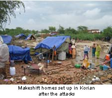 Makeshif shelter after korian attacks