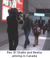 Rev. El Shafie and Neeha arriving in Canada