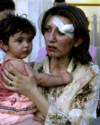 Mother and Child after Christian Church Bombing