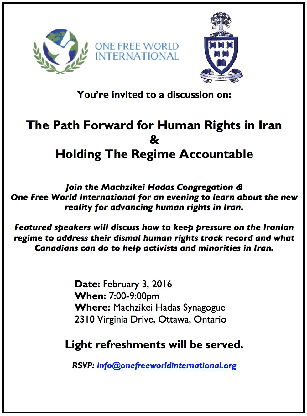 2016-02-03 Iran Nuclear Deal Ottawa Event