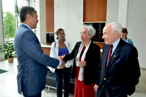 Melba Boyd meets with Wayne State University President Roy Wilson by Rick Bielaczyc