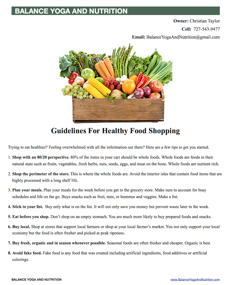 Healthy Food Shopping Guideline