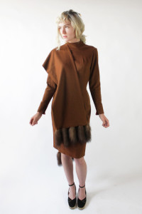 50s_Rust_Brown_Wool_Wiggle_Dress_with_Fur_Shawl_XS_Small_Vintage_4_large