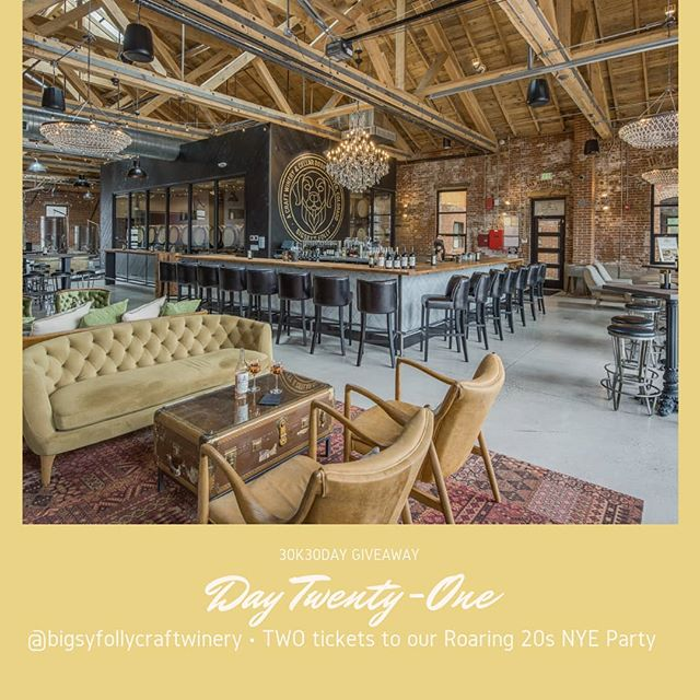 We're ☝️ week away from ringing in 2019! 💥 #30K30DayGiveaway // Day Twenty-One    You Win: TWO tickets to the @bigsyfollycraftwinery Roaring 20s NYE Party. Celebrate in style in RiNo's California-inspired, elegantly transformed 130 year old building with a decadent buffet, wine, beer, cocktails, champagne toast and party favors. A $200+ Value, includes food, drink and entertainment!   TO 🏆: How to enter: 1. Make sure you follow our page. 2. Like this post. 3. Tag 3 friends in the comments👇and make sure they follow @bigsyfollycraftwinery [Open to all @denverstylemagazine followers near and far. Redemption in Denver for 12/31 event. No exchanges. Must be 21 to enter] ••• More About @bigsbysfolly••• We opened our full-production winery and restaurant in Summer 2017. We wanted to bring the tradition, authenticity and sophistication of California's most prestigious vineyards to Denver so Coloradans could experience the best wines in a friendly, comfortable setting close to home because we believe that wine doesn't need to be intimidating or pretentious to be extraordinary.