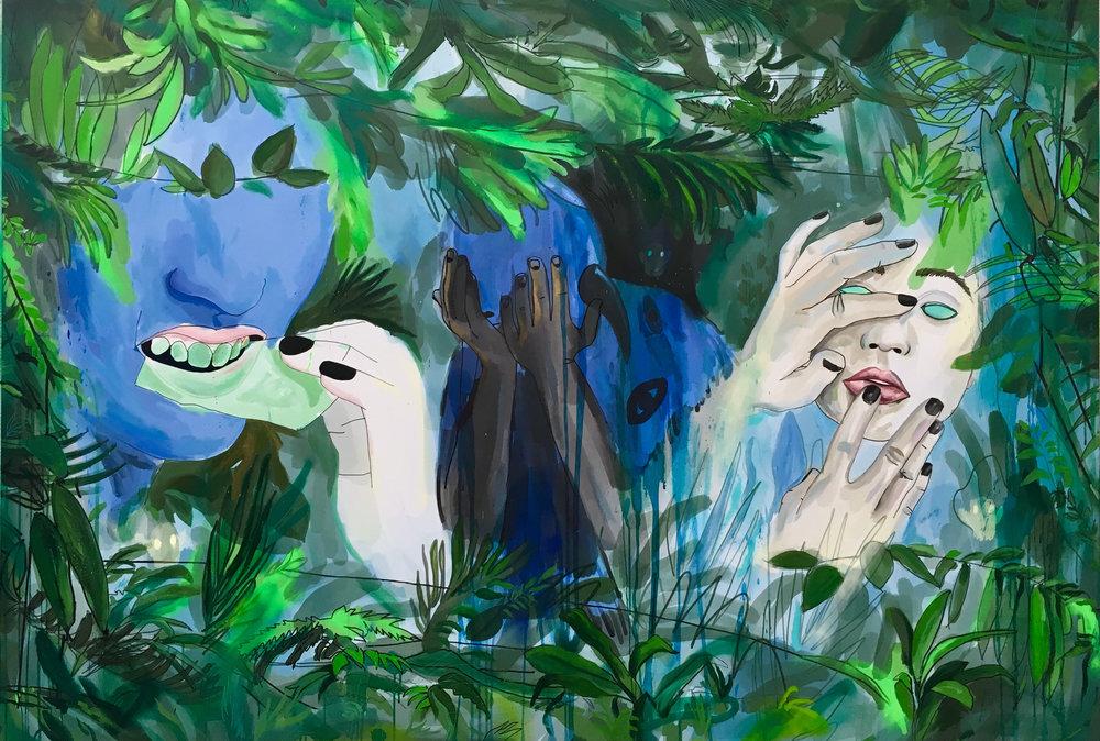 les prophètes, acrylic on canvas, 130x190cm, in collaboration w fiona nicoué