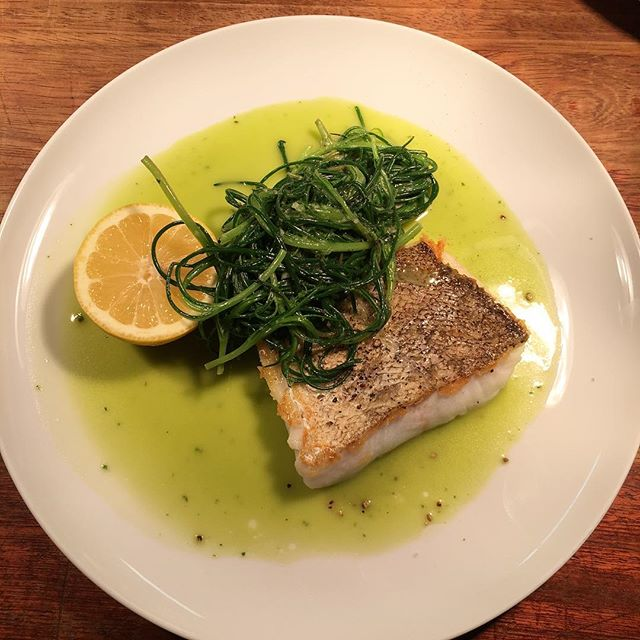 #onthemenu today - Cornish cod with agretti & herb butter