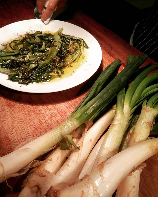 Calçots appearing on the menu tonight.  Big thanks to @natoora for the outstanding produce.