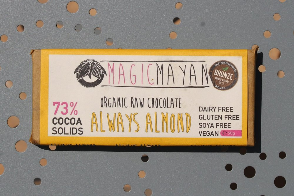 Always Almond Magic Mayan  - 73% cacao solids Always Almond is an organic raw chocolate bar. The almonds in this bar are lightlyroasted and tossed in organic olive oil and pink Himalayan salt.