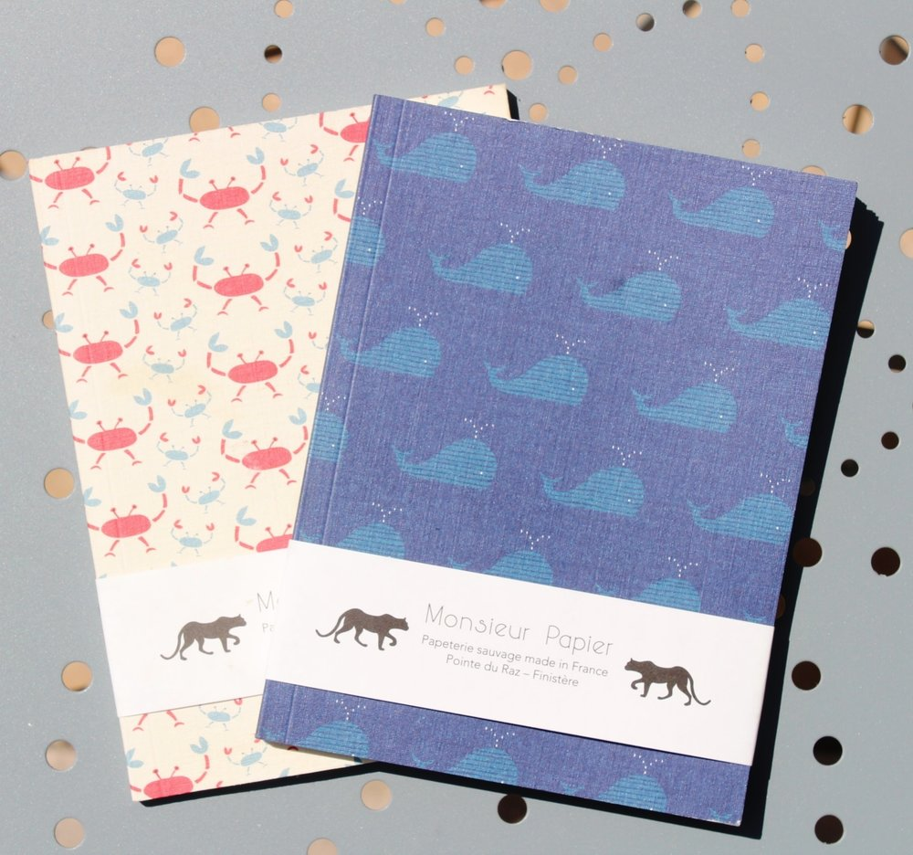 Notebook Whales or Crabs patternsMonsieur Papier - Designed and produced in Brittany, in France, Monsieur Papier is a small andindependant brand, offering a stationery featuring quality papers andworkmanship.