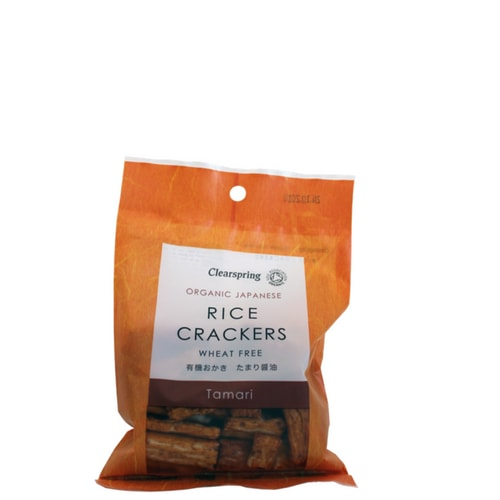 Tamari Rice CrackersClearspring - These delicious, wheat-free tamari flavoured rice crackers are traditionally made using special organic sweet rice and natural seasonings. They are low in fat, sugar-free and do not contain flavour enhancers, colourings and preservatives.