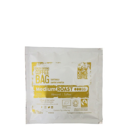 Coffee BagNew Kings Coffee - Single Origin, Fairtrade, Organic, Fresh Ground Coffee all wrapped up in our convenient and mess-free coffee bags. New Kings Coffee innovative coffee bags provide a single serving of each coffee, making these an ideal way to enjoy many different coffees in a convenient and cost effective way.