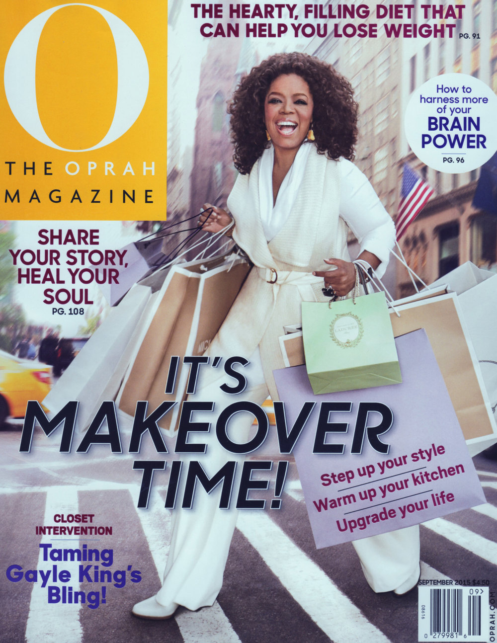 "The Oprah Magazine  ""August in Rome"" earrings on the front cover."