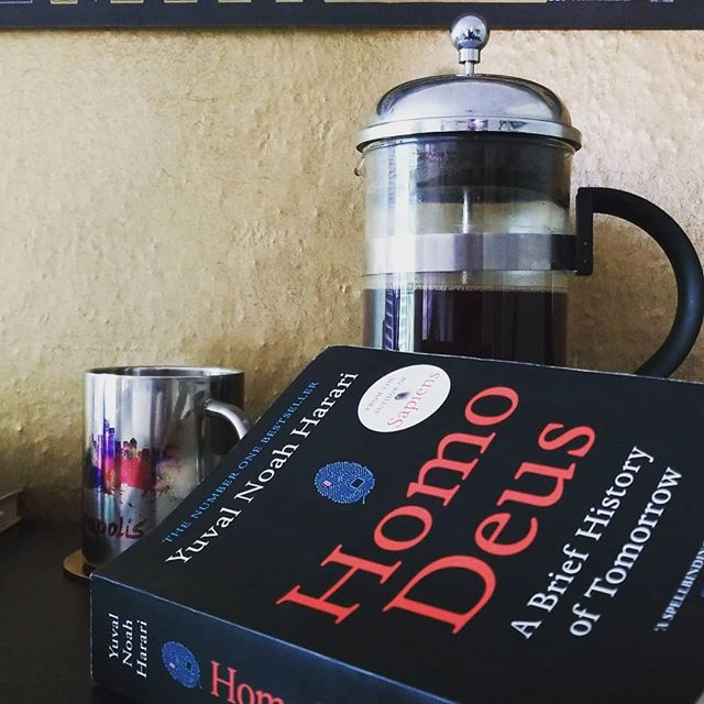 Morning vibes . . . . . #homodeus #yuvalnoahharari #abriefhistoryoftomorrow #morningvibes #goodreads #nonfictionreads #coffee #frenchpress #huntressofhappy