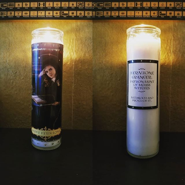 New votive. . . . . . . . #badasswitch #herminonegranger #harrypotter #votivecandle #inspiration #livebetter #huntressofhappy