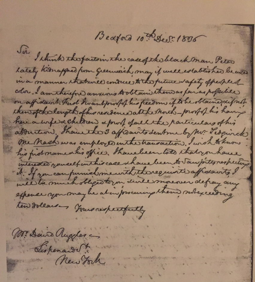 Letter from David Ruggles regarding the kidnapping of Peter John Lee, dated 10th of December, 1836