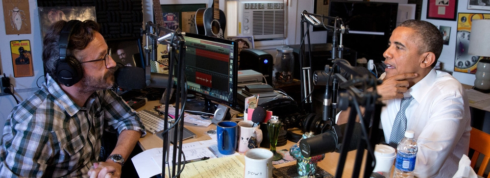 Oud Amerikaans president Obama in gesprek met Marc Macron van de WTF Podcast