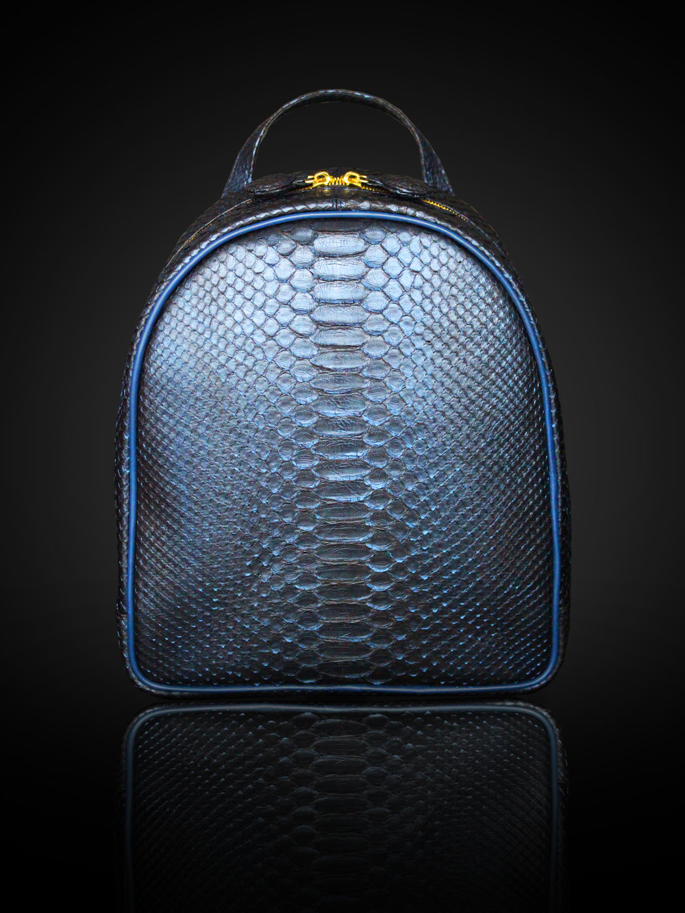 Metallic blue python packpack