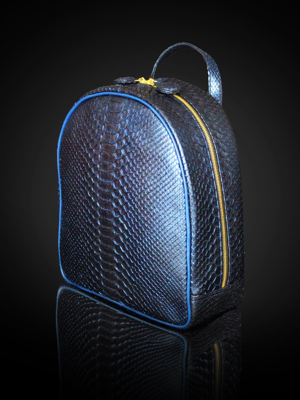 Metallic blue pythin backpack