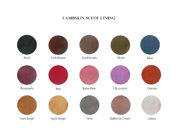 Suede lining swatches