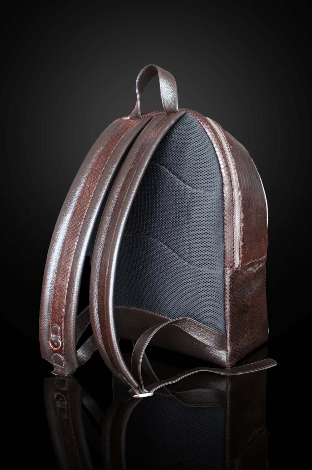 brown python backpack