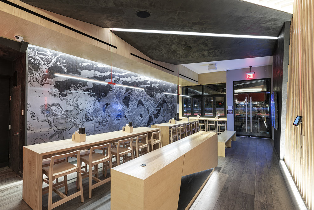 Tatsu Ramen in Lower Manhattan / design by Studio Unltd / artwork by Ando Pndlian