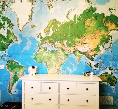 This  world map wallpaper  was a cheap investment and made such a statement in Jack's room. We were able to remove it when we left.