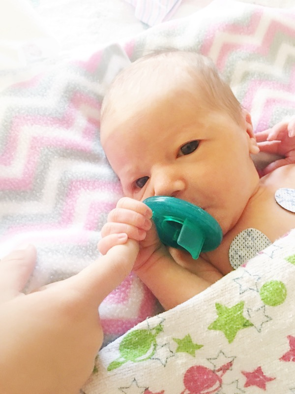 Sadie, toward the end of her stay in the NICU.