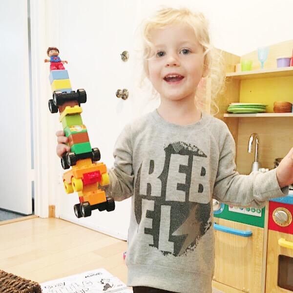 "Rosie's ""super car"" Lego creation."