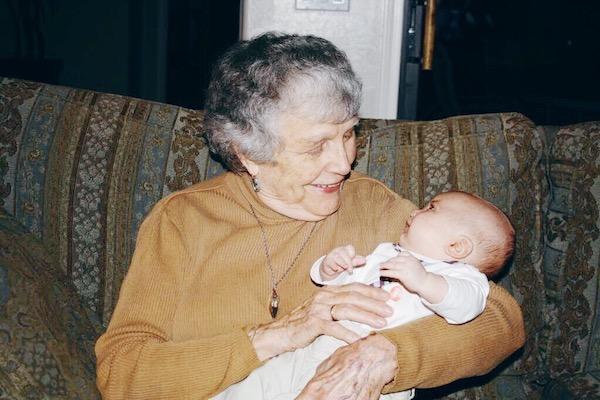 My grandma, meeting two-month-old Jack.