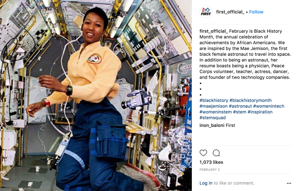 An example from First LEGGO League of highlighting role models in STEM careers from diverse backgrounds.