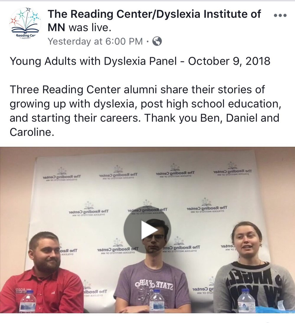 2018 Young Adults with Dyslexia Panel  Panelists: Ben, Daniel and Caroline