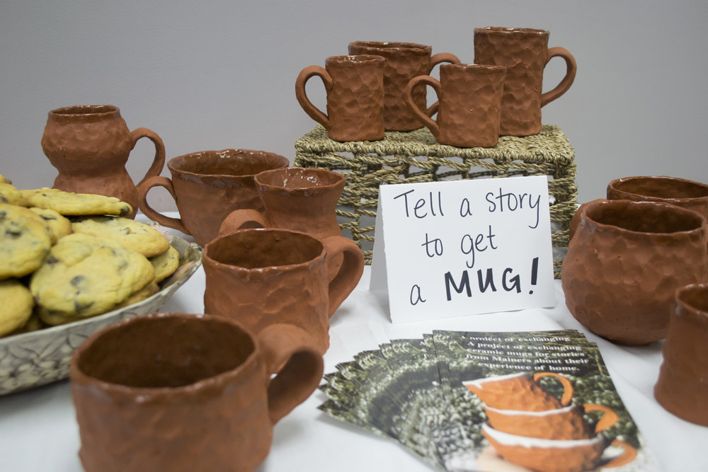 Some of the mugs that were traded for stories during our Augusta pop-up cafe on April 20.
