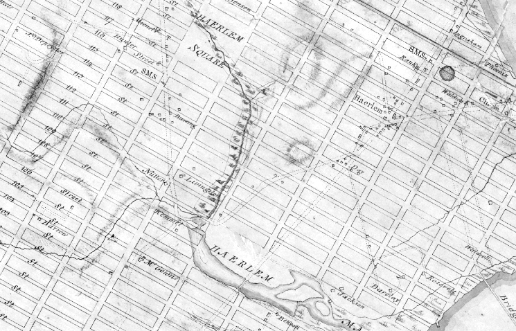 The New York City grid, ignoring hills and rivers, imposes its geometric monotony on the island of Manhattan.