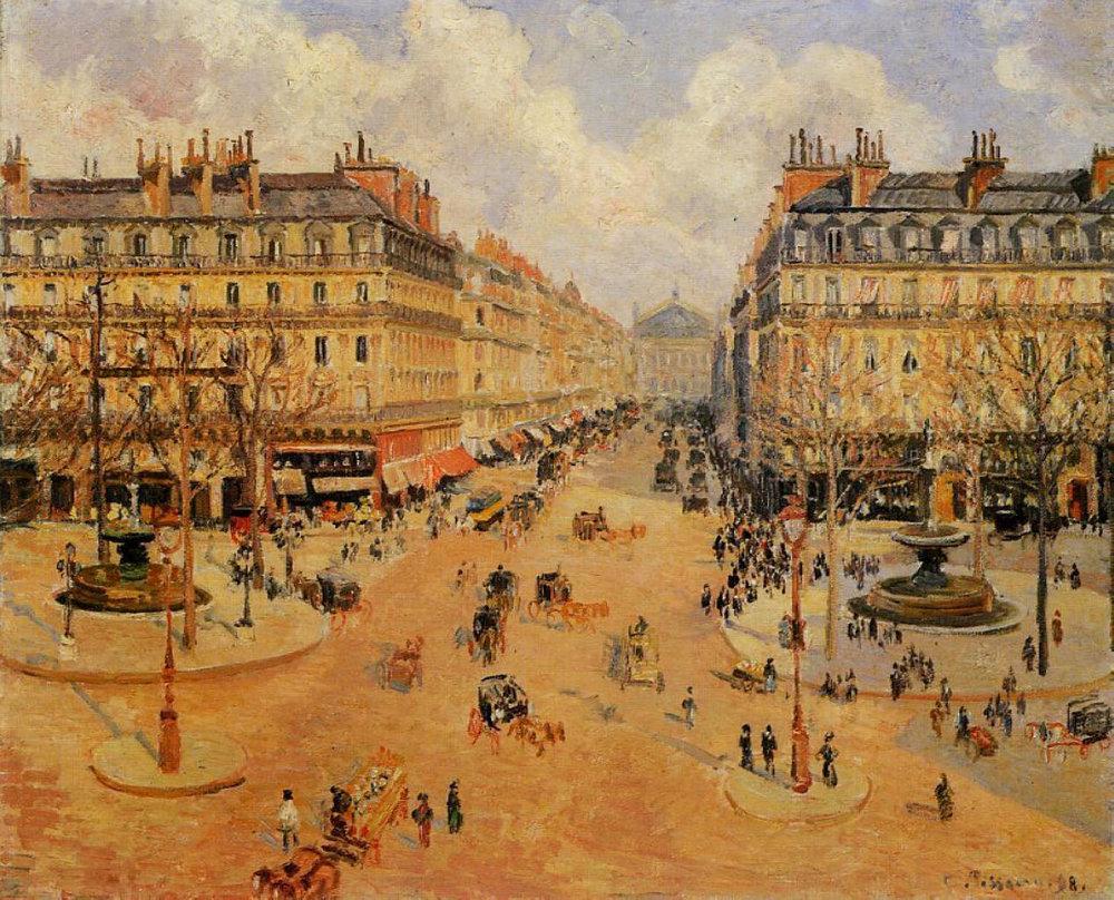 The Avenue de L'Opera, Paris, Sunlight, Morning  - Camille Pissarro