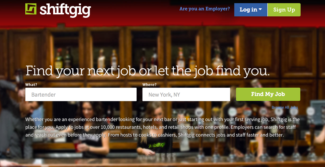 Shiftgig Home Page