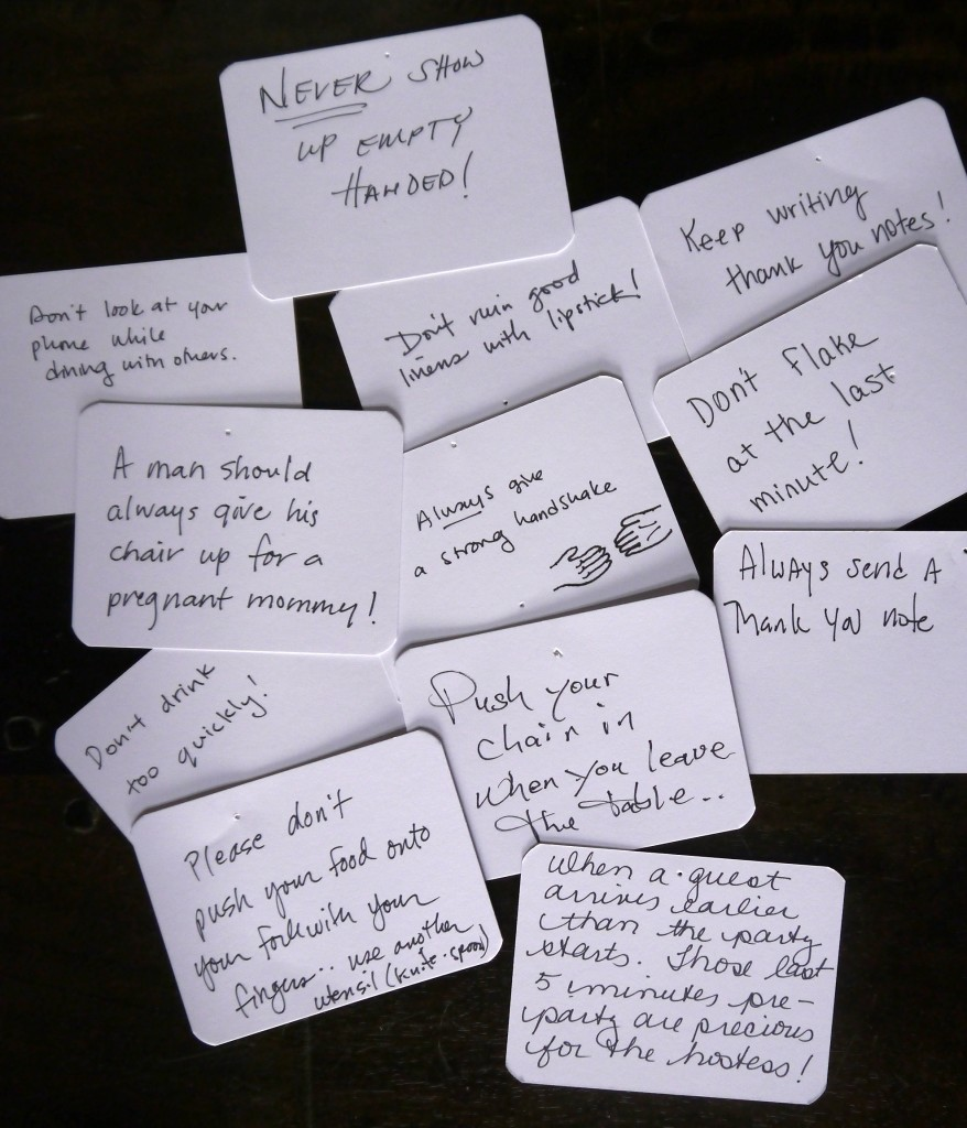 etiquette cards