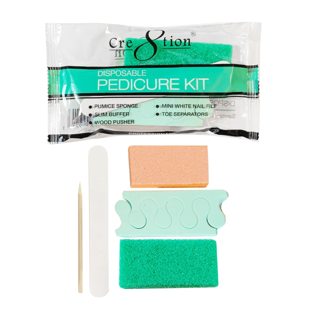 19341 - Pedicure Kit B   For the full pedicure and extra comfort. Includes 1 Pumice Sponge, 1 Mini White Nail File, 1 Slim Buffer, 1 Wood Pusher and 1 pair of Toe Separators  (200 kits/case)