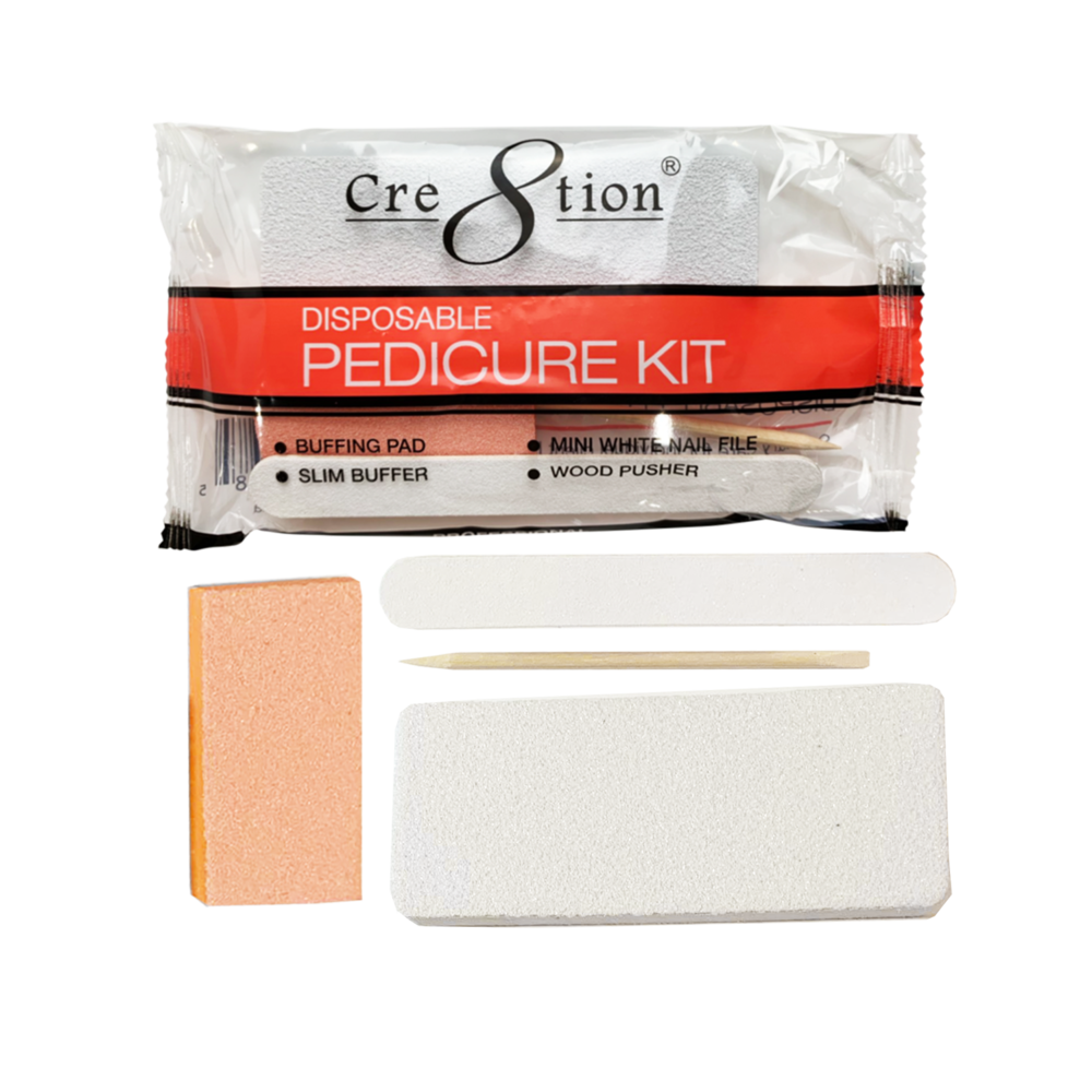 19422 - Pedicure Kit D   Includes 1 Buffing Pad, 1 Slim Buffer, 1 Mini White Nail File, 1 Wood Pusher  (200 kits/case)