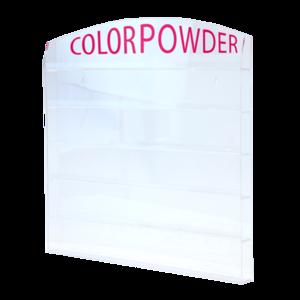 Acrylic Wall Mounted Powder Jar Rack  10167 - Size 1 oz 72 pcs 10168 - Size 1 oz 96 pcs 10171 - Size 2 oz 72 jars 10172 - Size 2 oz 96 jars  6 pcs/case