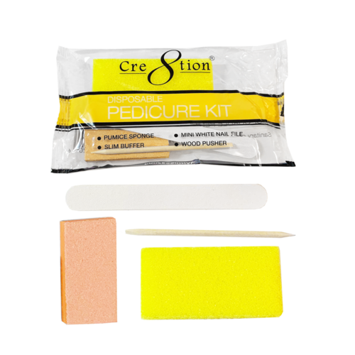 19340 - Pedicure Kit A  The essentials for a quality pedicure. Includes 1 Pumice Sponge, 1 Mini Nail File, 1 Wood Pusher, and 1 Slim Buffer for softer smoother feet  (200 kits/case)